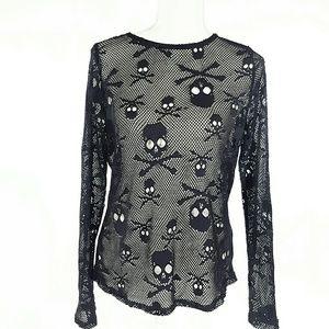 Sz L Devil Fashion Mesh Skull top